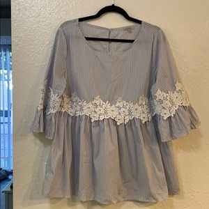 3/4 sleeve striped peplum with lace